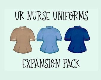 UK Nurse Uniforms Essential Expansion Pack |Essential PNG| Character Builder | Essential Builder|Full Body|United Kingdom|EMS
