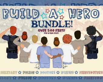 Build a Hero Bundle |PNG| Hero| Character Builder | Doctor & Nurse Clipart| FireFighter Clipart|Police Clipart|Military Clipart| Essential
