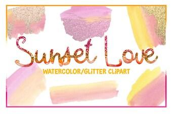 Brush Strokes, Watercolor clipart, Watercolor splashes, Splatter clipart, Planner clipart, commercial use, Watercolor Brush, Glitter Clipart