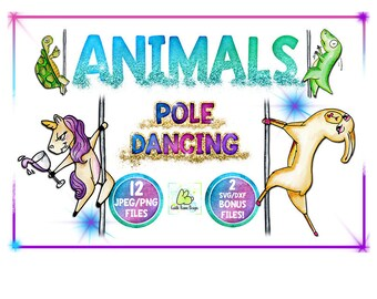 Animal Clipart, Watercolor Clipart, Pole Dancing, Funny Animals, Sublimation, Unicorn Clipart, Cat, Dino, Turtle, Llama, Koala, Commercial