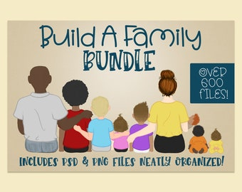 Build a Family Bundle | Family PNG| Family PSD| Character Builder | DIY clipart | DiY Family | Infant png | toddler png| Family Builder
