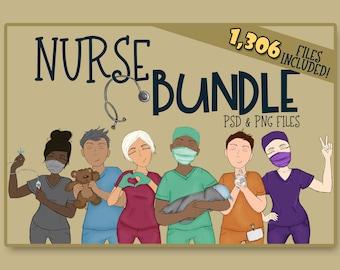 Essential Nurse Builder Bundle | Nurse Clipart | DIY Nurse Clipart | NICU Nurse Clipart| Essential Nurse Clipart| Build a Nurse| Nurse Love
