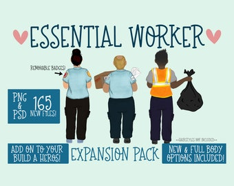Essential Worker Expansion Pack |Essential PNG| Character Builder | Essential Builder|Full Body|Mail Carrier|EMS