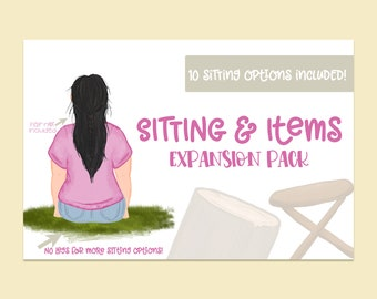 Sitting & Items Expansion Pack| Sitting Objects for build a bundles| Object Clipart| Items| PNG clipart| PSD File included!