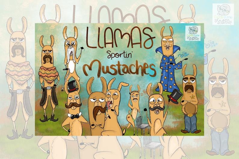 Llama Clipart Llama Mustache Clipart Alpaca Clipart Cartoon Llama Clipart Hilarious Llama Funny Clipart Animal Clipart Commercial Use