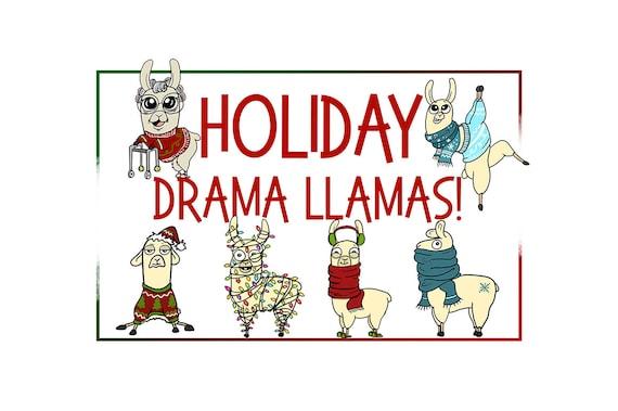 Holiday Clipart Llama Clipart Xmas Clipart Cartoon Sticker Clipart Digital Llama Alpaca Art Funny Digital Llama Llama Drama Commercial