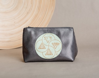 """Leather cosmetic bag in pyramid shape with engraved motif """"elements"""", made of sustainable genuine leather, a spiritual gift"""