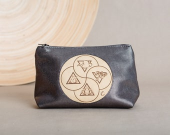 """Leather cosmetic bag with engraved motif """"elements"""", in minimalist geometric pyramid shape, a spiritual gift"""