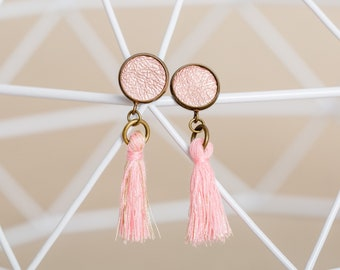 Pink leather earrings with tassel, handmade from sustainable leather, e.B. as bridesmaid jewelry or small gift for girlfriend