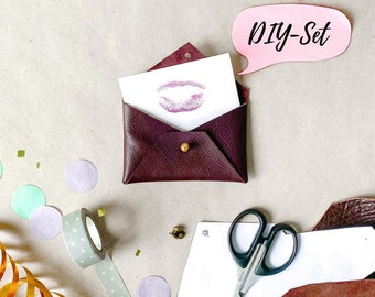 DIY set leather case, material and instructions, sustainable leather for crafting for money gifts or coupons