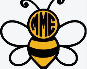 Custom Bee Monogram Vinyl Decals