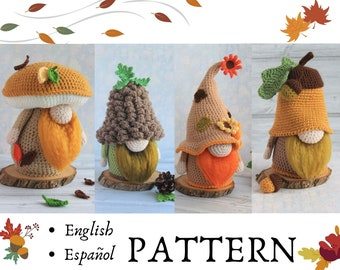 Autumn crochet gnomes set / Acorn gnome/ Pine cone gnome/ Autumn Fall gnome/ Mushroom gnome