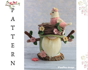 Crochet  Bird nest gnome pattern, Nest gnome tutorial, crochet spring bird amigurumi pattern