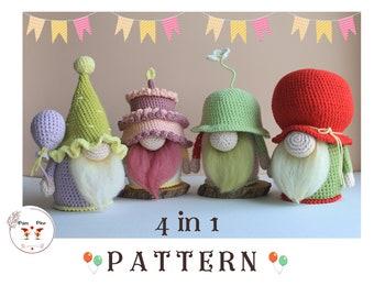 Crochet Birthday set / Gnomes set pattern / Amigurumi set of patterns / Happy birthday gnomes