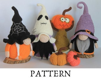 Halloween Gnomes, Crochet 4 pattern in 1 , Halloween gnomes group