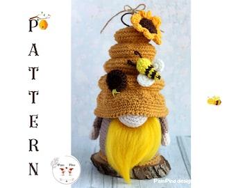 Crochet Spring Beehive gnome, Beehive gnome, amigurumi beehive, crochet beehive tutorial