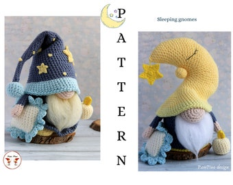 Crochet Moon sleeping gnomes, amigurumi sleeping gnome, sleep gnome tutorial