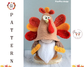 Thanksgiving Day Turkey gnome crochet pattern, crochet Turkey tutorial, Thanksgiving day gift