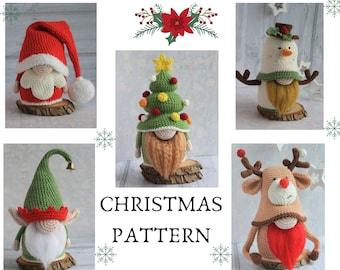 Christmas Gnomes crochet group, crochet 5 patterns in 1, Christmas set pattern