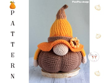Crochet Autumn Fall Pumpkin gnome pattern, Pumpkin gnome design, Halloween pumpkin