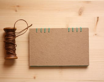 Green Notebook, Coptic binding, notes, hand-made book