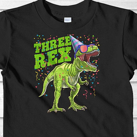 Three Rex Birthday Shirt 3rd Dinosaur