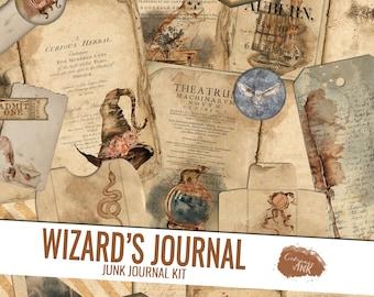 Junk Journal Kit, Wizard Junk Journal Printable, Printable Journal Pages, Junk Journal Digital Kit, Magic Junk Journal Digi Kit, Ephemera
