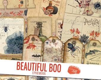 Halloween Junk Journal Ephemera, Beautiful Boo Ephemera Kit, Junk Journal Kit, Vintage Gothic Ephemera, Fall Ephemera, Scrapbook Ephemera