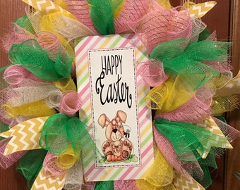 Easter deco mesh wreath, Easter bunny wreath, Easter wreath with sign