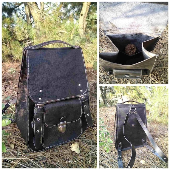 City canvas backpack thick leather black large durable Vintage