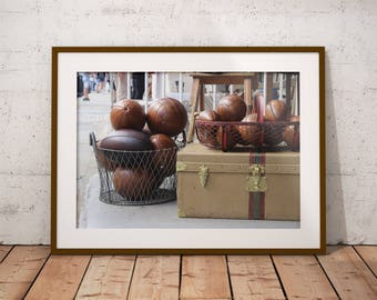 Vintage Leather University Football Rugby Balls, Second Hand Leather Football Soccer Balls, Portobello Road Market, Digital Photograph