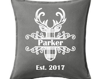 Split deer head personalized pillow cover, Deer pillow case, Personalized pillow case, Pillow cover, Personalized pillow cover, Deer pillow