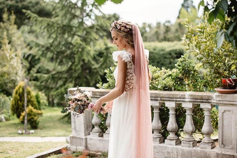 Braut Schleier in Rosa