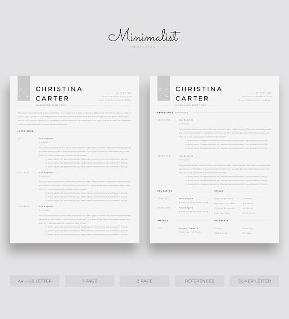 Modern Resume Template Minimalist Resume Creative Resume Cv Etsy