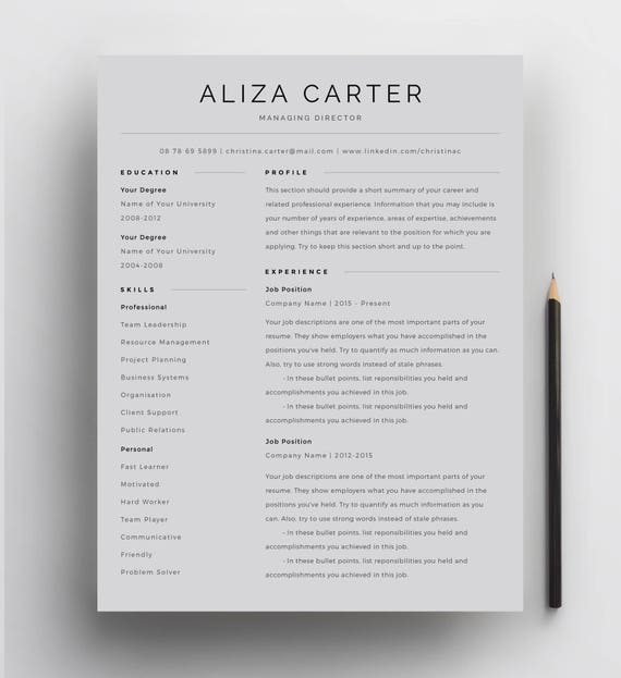 Creative Resume Template Minimalist Resume Resume Design Modern Resume Cv Template Clean Resume Professional Resume Template For Word