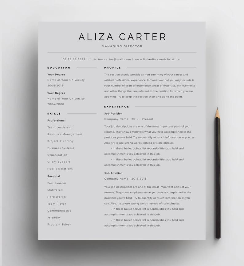 Creative Resume Template, Minimalist Resume, Resume Design, Modern Resume,  CV Template, Clean Resume, Professional Resume Template for Word
