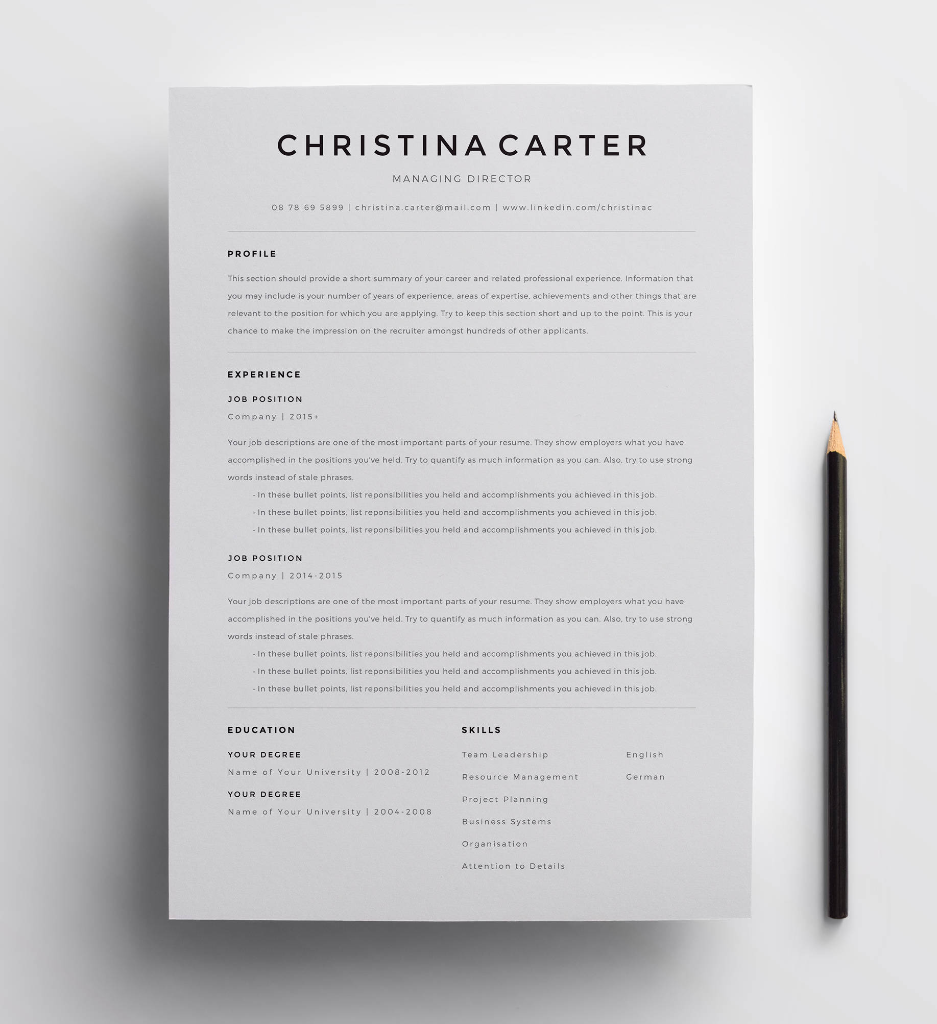 Creative Resume Template Minimalist Resume Resume Modern Resume Cv Template Cv Clean Resume Professional Resume Template For Word