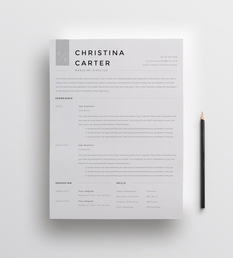 Modern Resume Template Minimalist Creative CV
