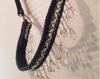 Arabian Show Halter - Blue with Black and Silver Trim