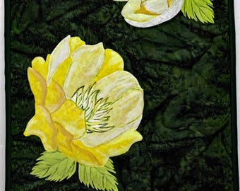 Yellow Trollius - Wall Quilt