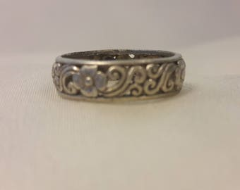 Flowers and swirls sterling silver ring boho hippie chic