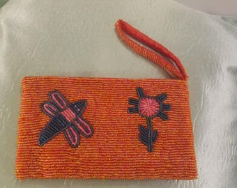 Orange Raspberry Sorbet -Beaded Wristlet