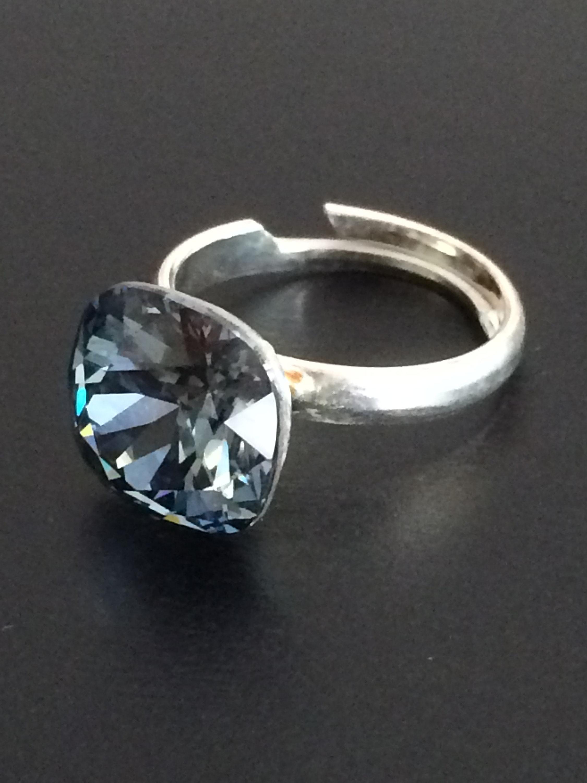 Swarovski ring   925 Silver ring   Blue Crystal   Swarovski  3c1dc47984