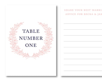 Monogram Wreath Personalized Interactive Table Number Option 2