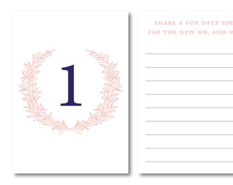 Monogram Wreath Personalized Interactive Table Number Option 1