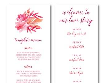 Let Love Bloom Personalized Interactive Wedding Menu
