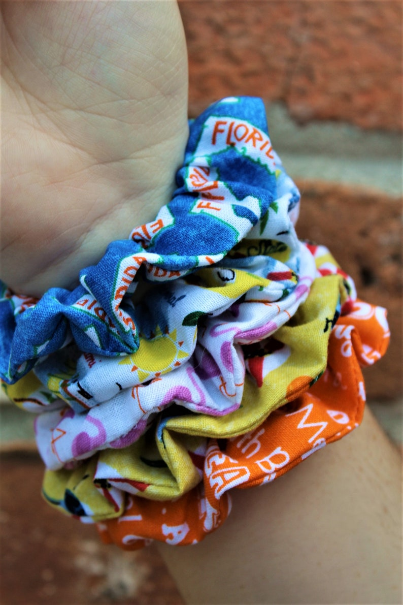 Florida Themed / Set of 5 Scrunchies / Party Favor / Care image 0