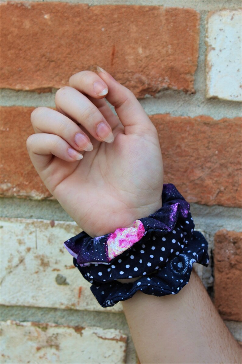Space / Galaxy / Set of 3 Scrunchies / Scrunchie / Top Knot / image 0