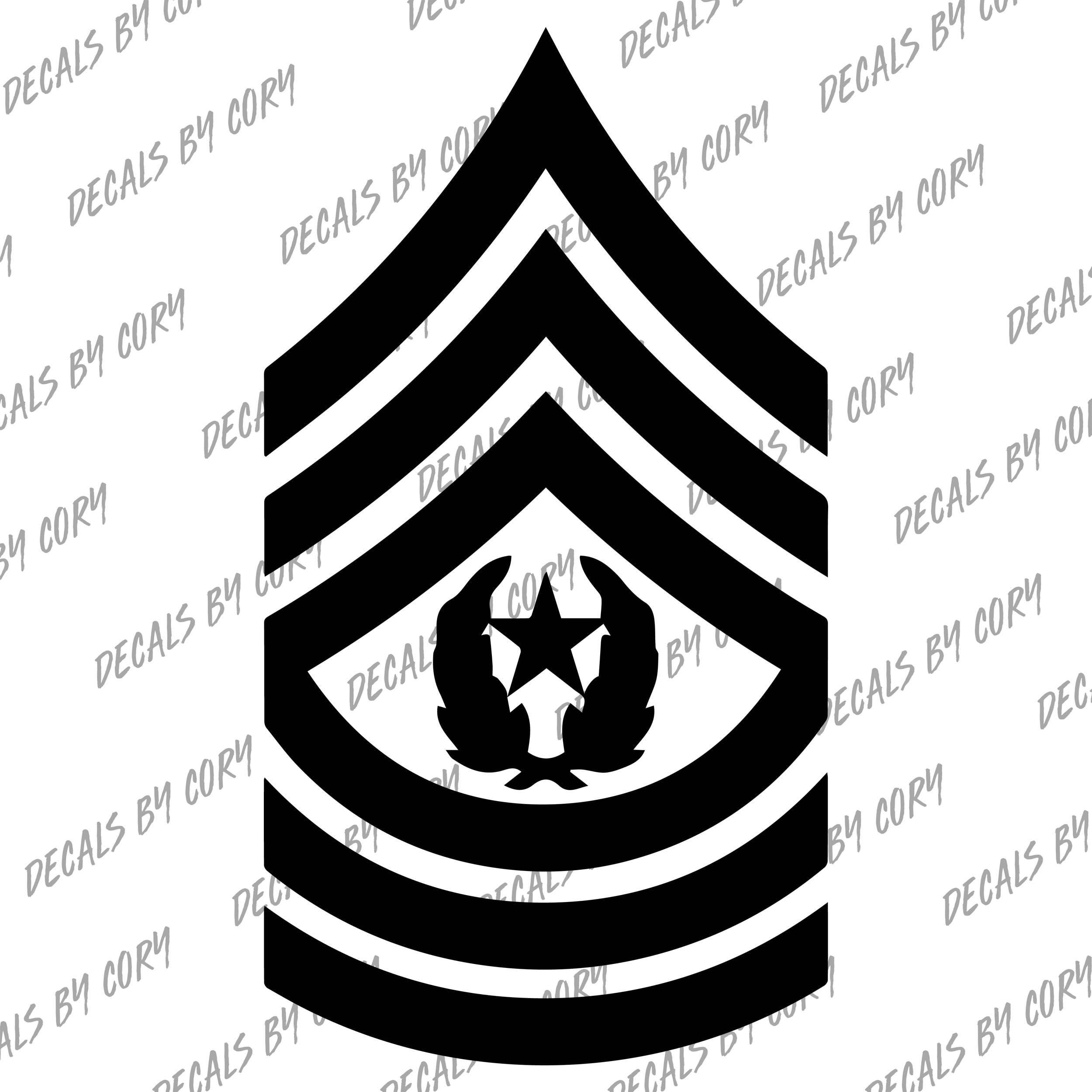 US Army Command Sergeant Major CSM E-9 E9 Rank Decal ...