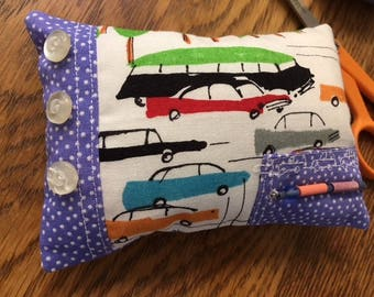Pin cushion, Modern pin cushion, car-themed sewing notion handmade